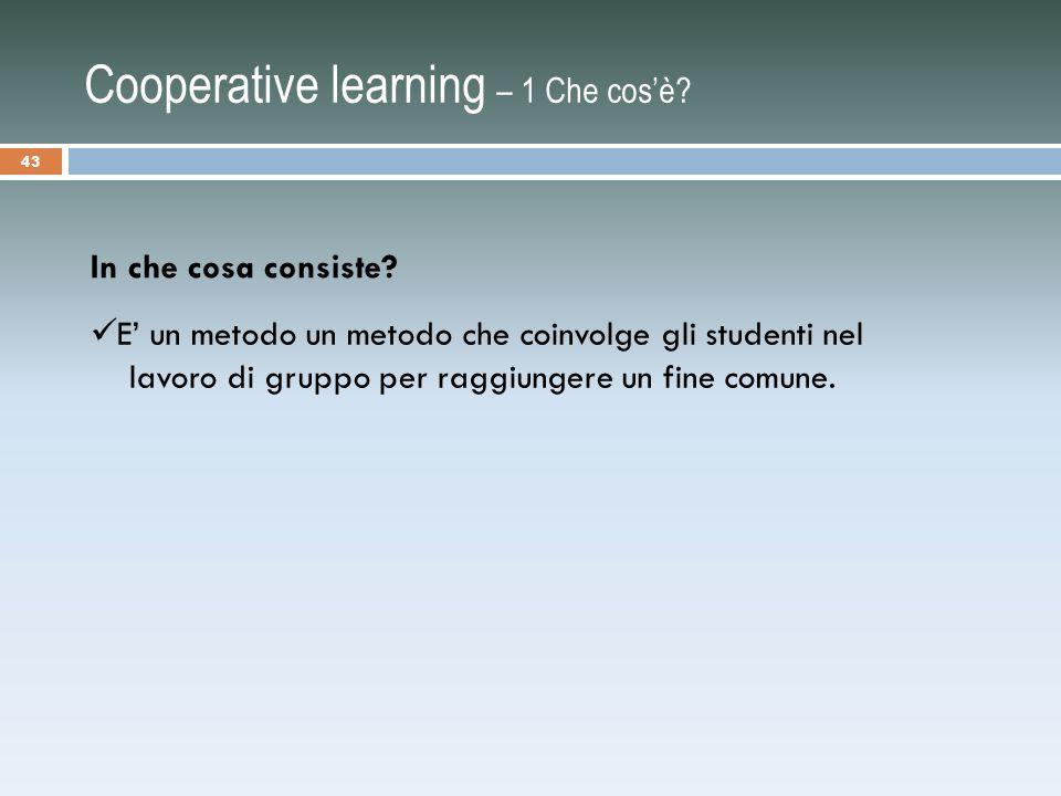 Cooperative learning – 1 Che cos'è.