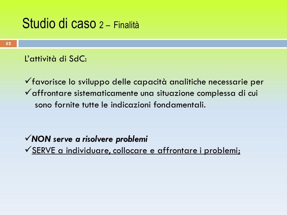 Studio di caso 2 – Finalità L'attività di SdC: favorisce lo sviluppo delle capacità analitiche necessarie per affrontare sistematicamente una situazione complessa di cui sono fornite tutte le indicazioni fondamentali.