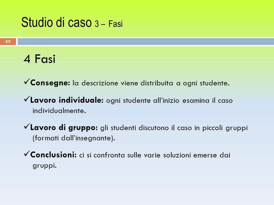 Studio di caso 3 – Fasi 53 4 Fasi Consegne: la descrizione viene distribuita a ogni studente.