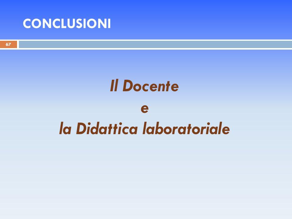 CONCLUSIONI 67 Il Docente e la Didattica laboratoriale