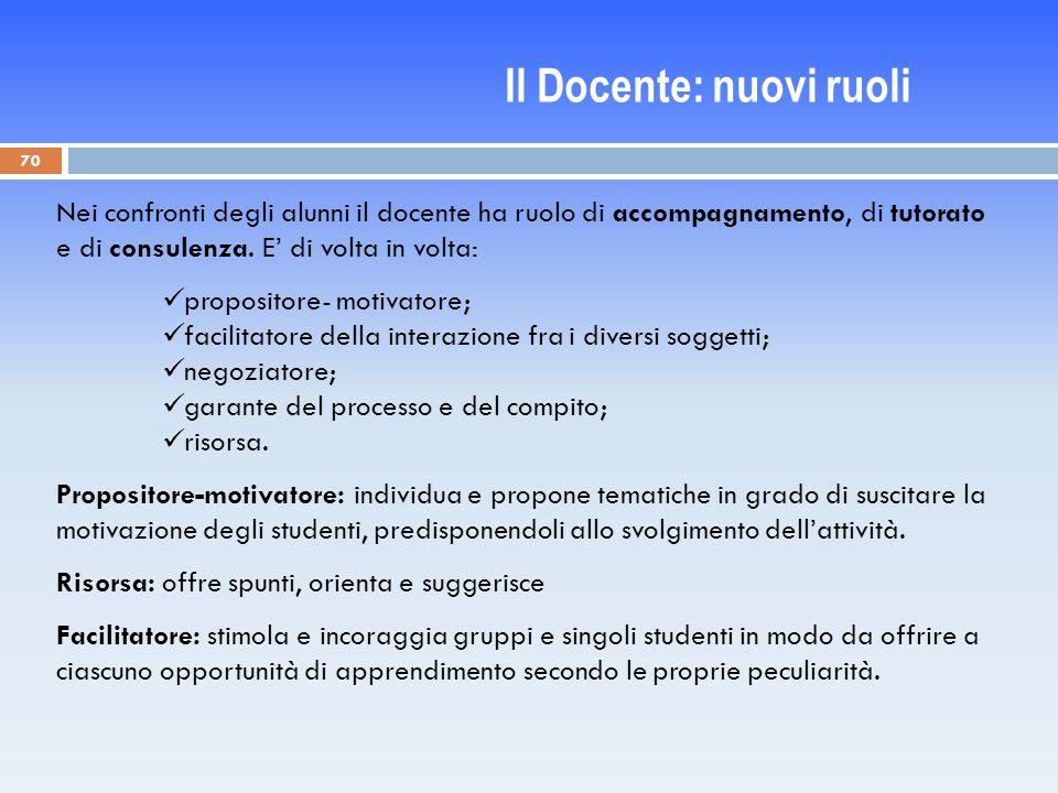70 Nei confronti degli alunni il docente ha ruolo di accompagnamento, di tutorato e di consulenza.