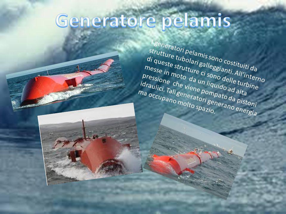I generatori pelamis sono costituiti da strutture tubolari galleggianti. All'interno di queste strutture ci sono delle turbine messe in moto da un liq