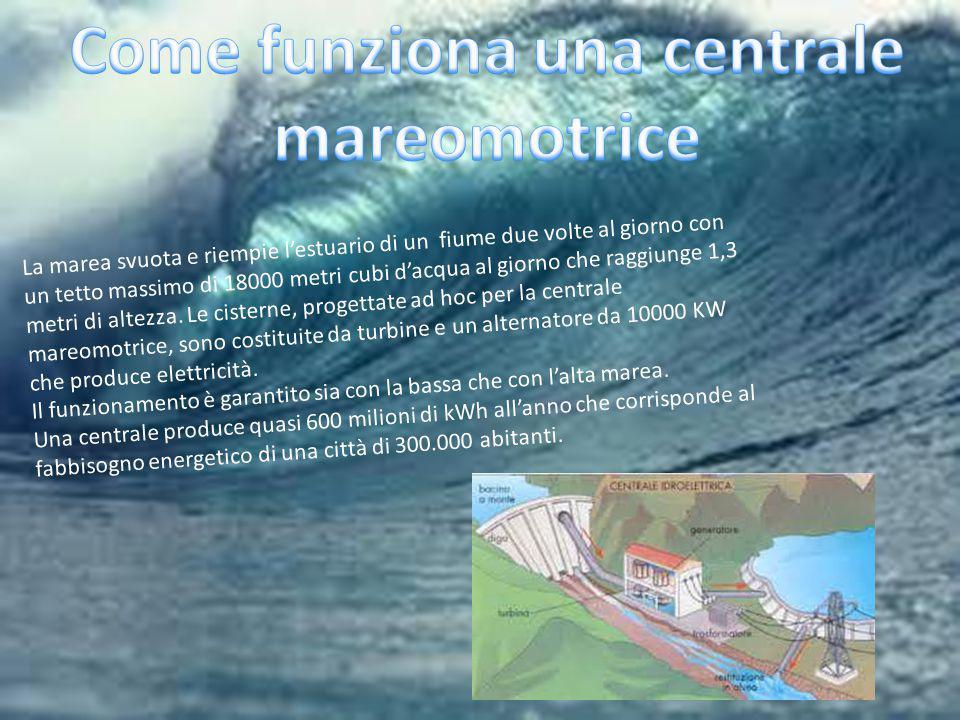La marea svuota e riempie l'estuario di un fiume due volte al giorno con un tetto massimo di 18000 metri cubi d'acqua al giorno che raggiunge 1,3 metr