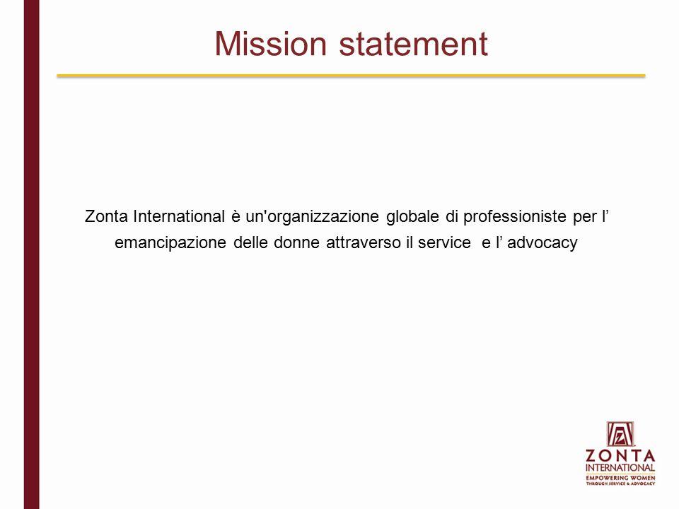 Zonta International è un organizzazione globale di professioniste per l' emancipazione delle donne attraverso il service e l' advocacy Mission statement