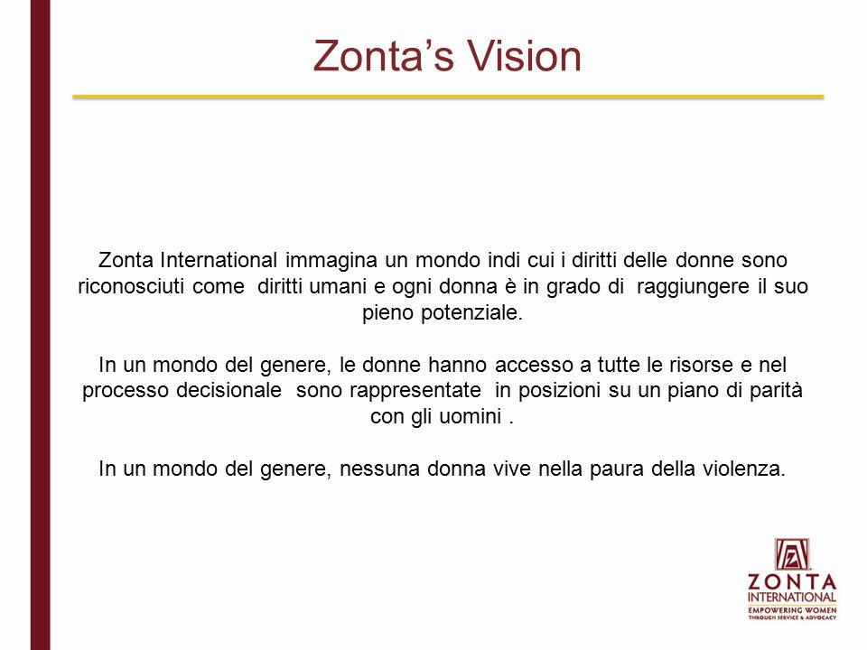 Zonta International immagina un mondo indi cui i diritti delle donne sono riconosciuti come diritti umani e ogni donna è in grado di raggiungere il su