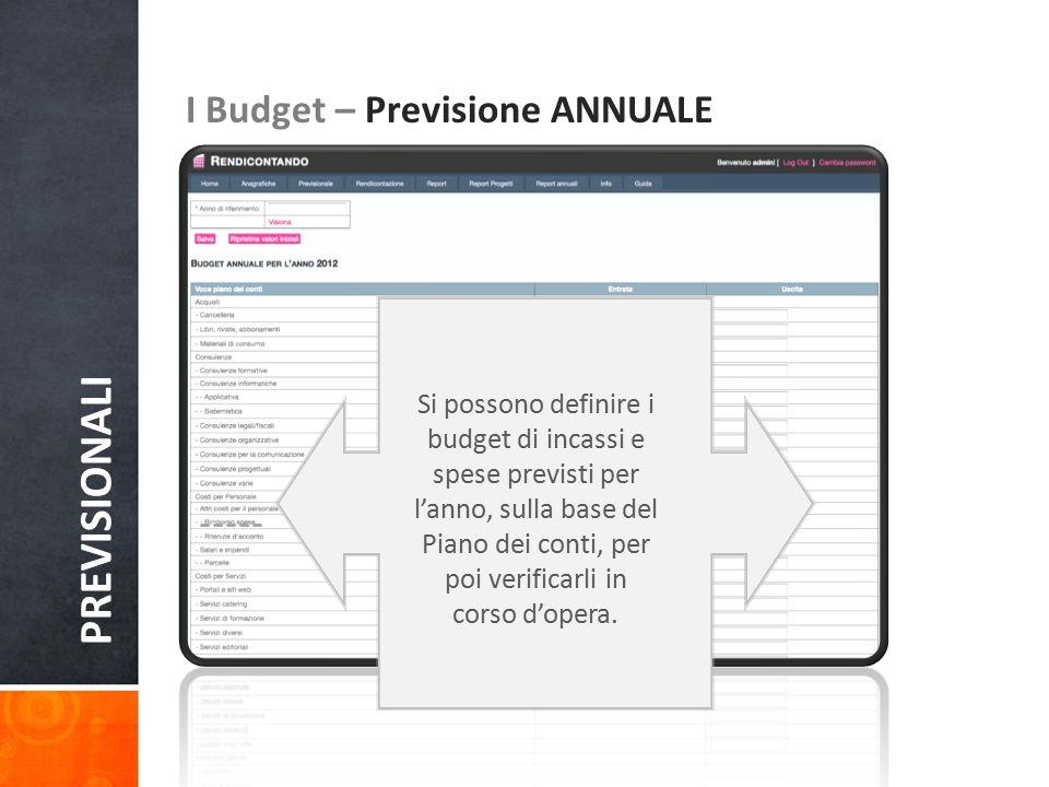 PREVISIONALI I Budget – Previsione ANNUALE Si possono definire i budget di incassi e spese previsti per l'anno, sulla base del Piano dei conti, per po