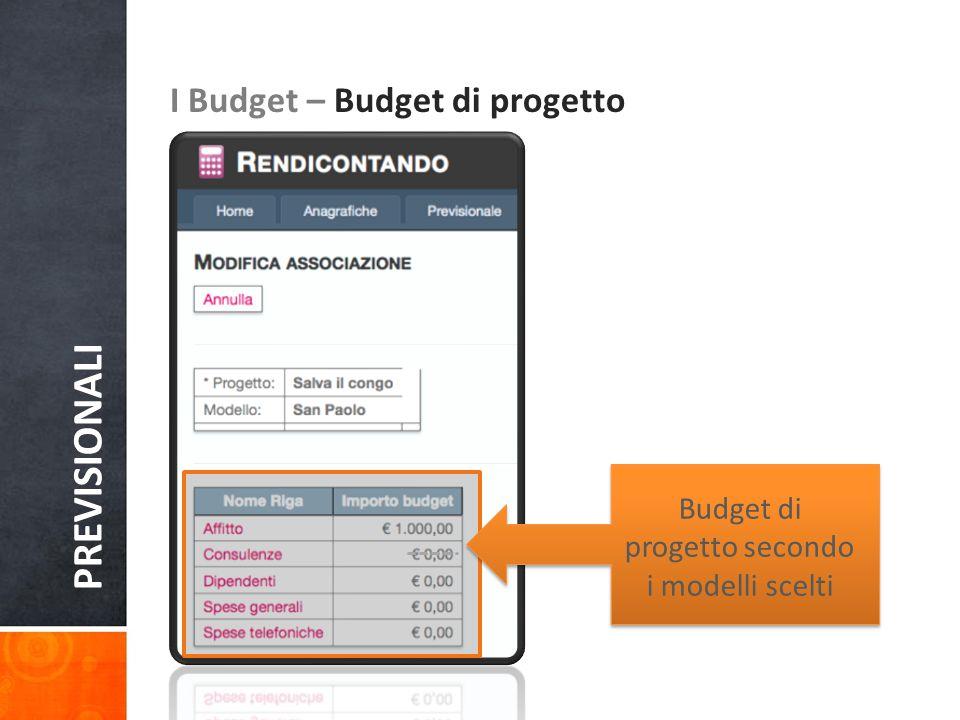 PREVISIONALI I Budget – Budget di progetto Budget di progetto secondo i modelli scelti