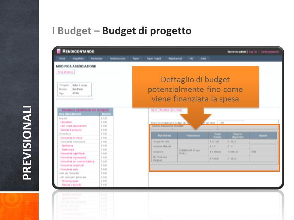 PREVISIONALI I Budget – Budget di progetto Dettaglio di budget potenzialmente fino come viene finanziata la spesa