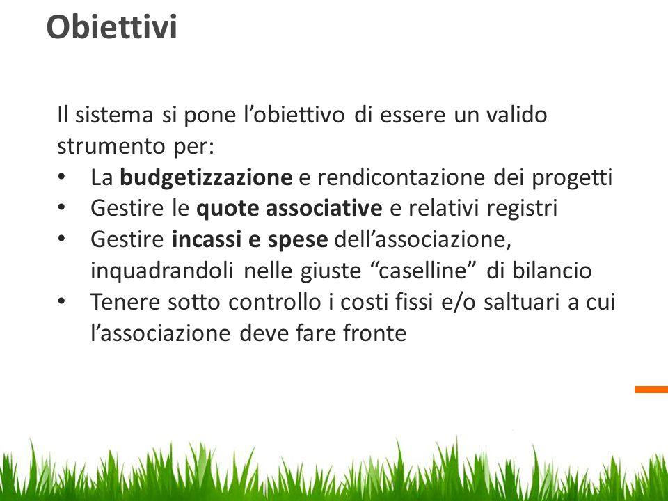 Obiettivi Il sistema si pone l'obiettivo di essere un valido strumento per: La budgetizzazione e rendicontazione dei progetti Gestire le quote associa