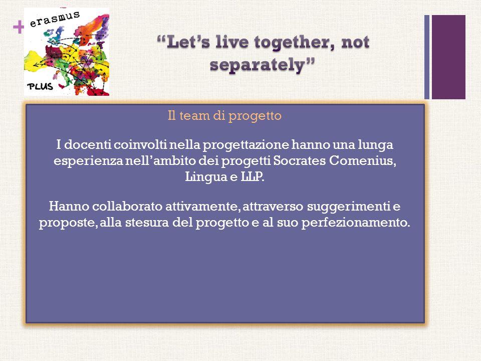 + Il team di progetto I docenti coinvolti nella progettazione hanno una lunga esperienza nell'ambito dei progetti Socrates Comenius, Lingua e LLP. Han