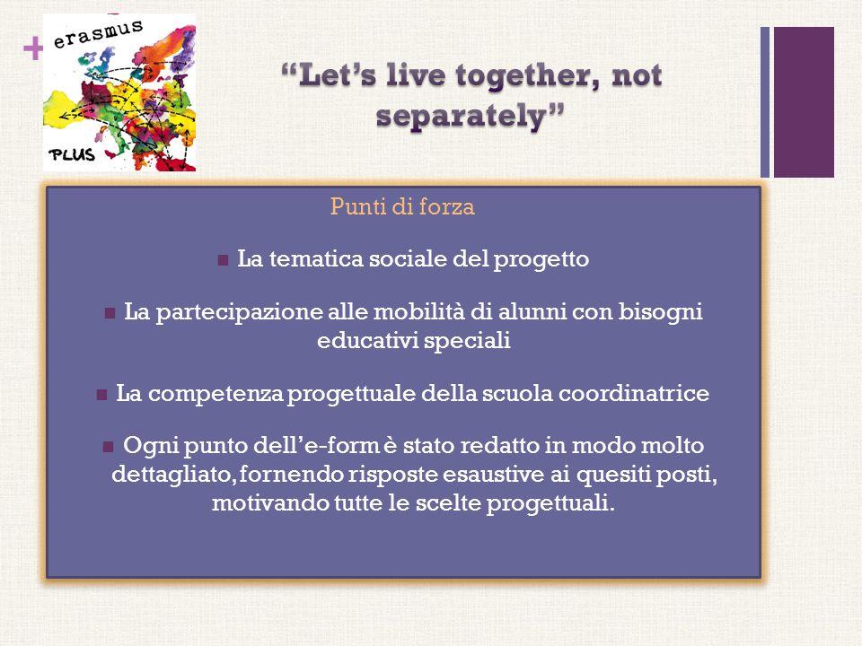 + Punti di forza La tematica sociale del progetto La partecipazione alle mobilità di alunni con bisogni educativi speciali La competenza progettuale d