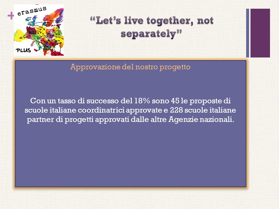 + Approvazione del nostro progetto Con un tasso di successo del 18% sono 45 le proposte di scuole italiane coordinatrici approvate e 228 scuole italia