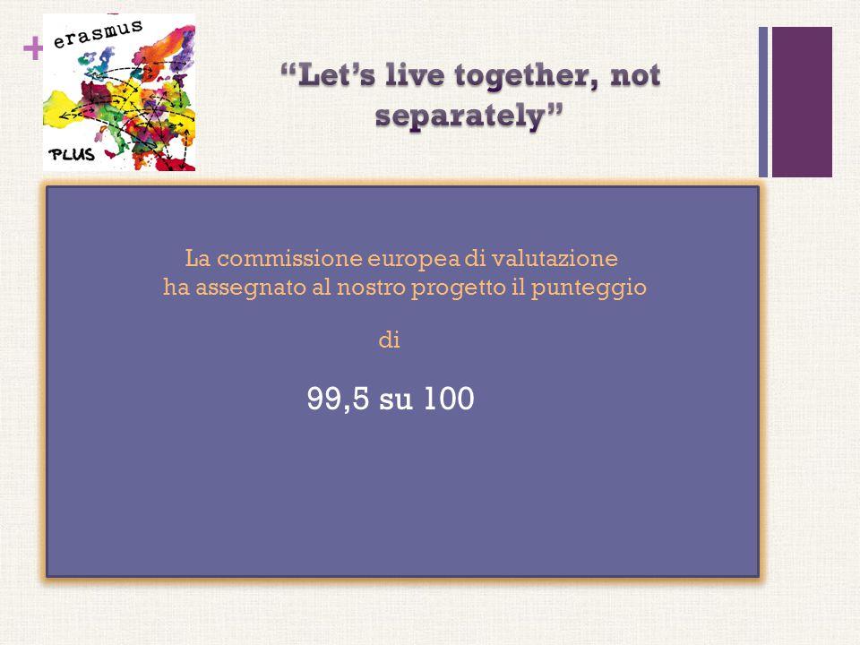 + La commissione europea di valutazione ha assegnato al nostro progetto il punteggio di 99,5 su 100 La commissione europea di valutazione ha assegnato