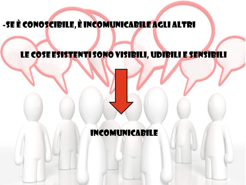 -SE è CONOSCIBILE, è INCOMUNICABILE AGLI ALTRI LE COSE ESISTENTI SONO VISIBILI, UDIBILI E SENSIBILI INCOMUNICABILE