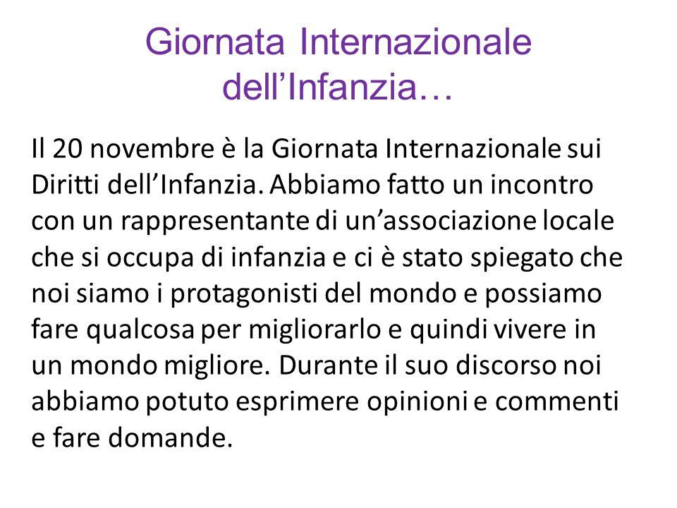 Giornata Internazionale dell'Infanzia… Il 20 novembre è la Giornata Internazionale sui Diritti dell'Infanzia.