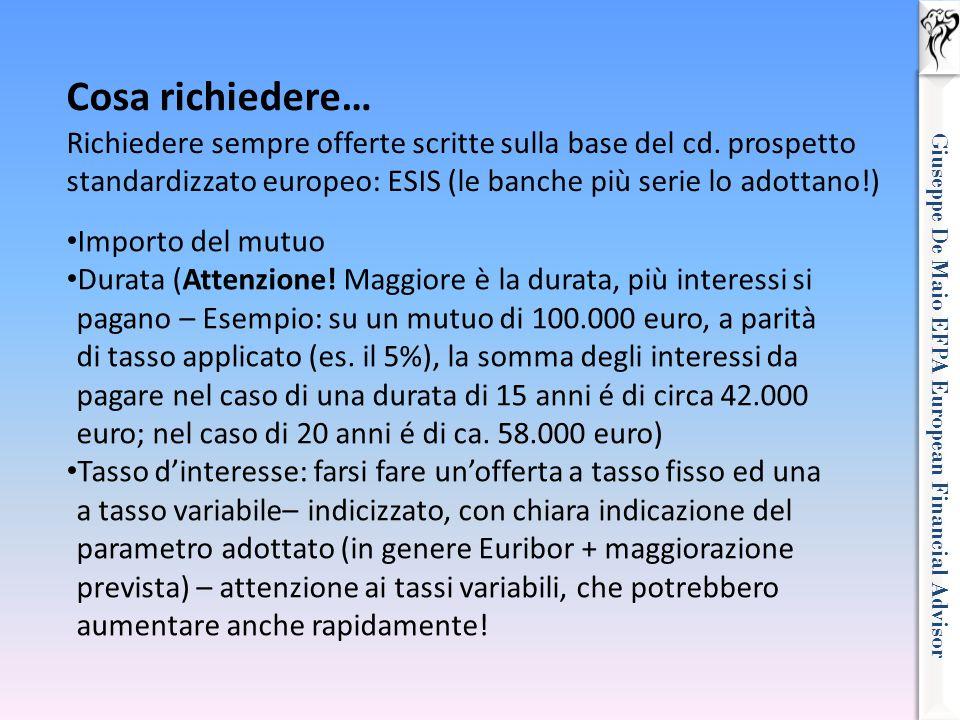Giuseppe De Maio EFPA European Financial Advisor Cosa richiedere… Richiedere sempre offerte scritte sulla base del cd. prospetto standardizzato europe