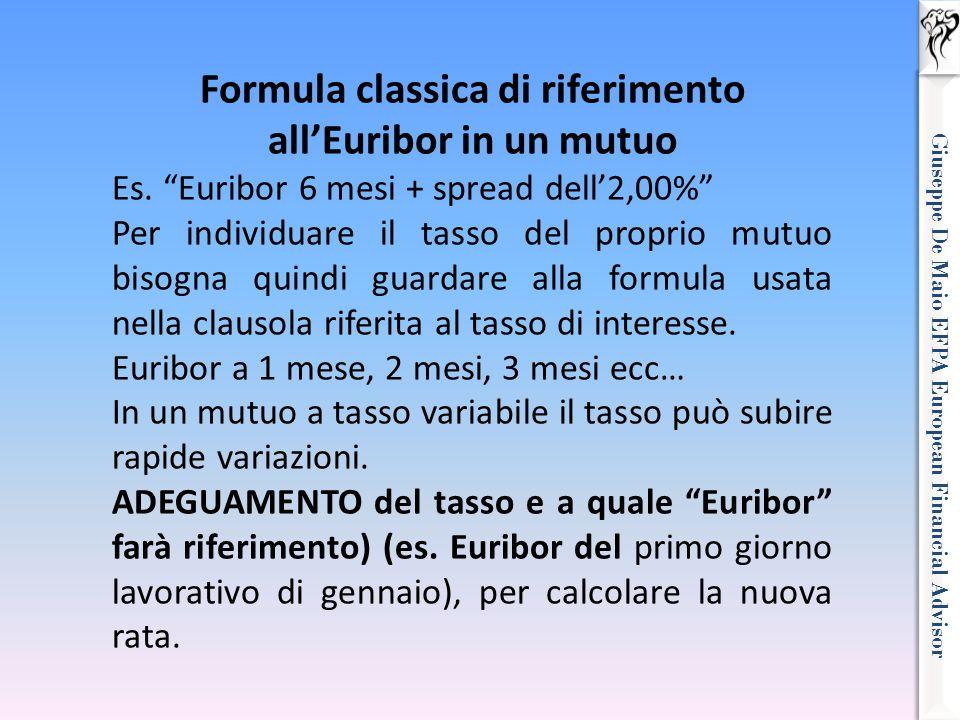 "Giuseppe De Maio EFPA European Financial Advisor Formula classica di riferimento all'Euribor in un mutuo Es. ""Euribor 6 mesi + spread dell'2,00%"" Per"