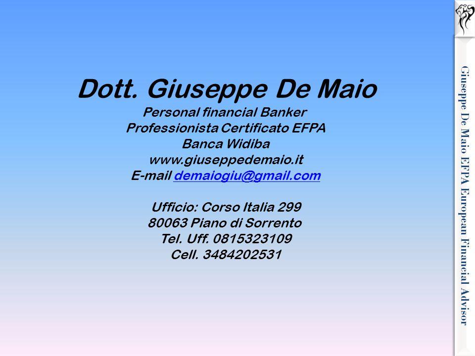 Giuseppe De Maio EFPA European Financial Advisor Dott. Giuseppe De Maio Personal financial Banker Professionista Certificato EFPA Banca Widiba www.giu