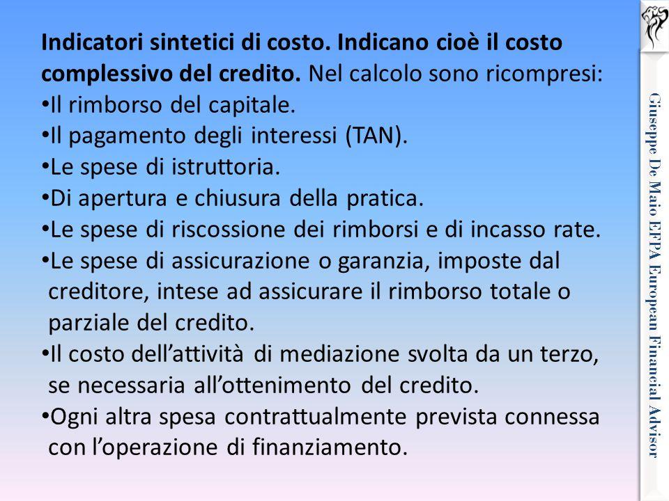 Giuseppe De Maio EFPA European Financial Advisor Indicatori sintetici di costo. Indicano cioè il costo complessivo del credito. Nel calcolo sono ricom