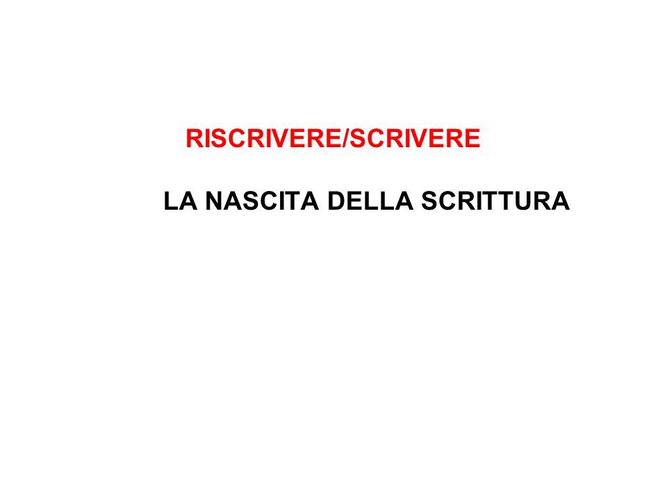 RISCRIVERE/SCRIVERE LA NASCITA DELLA SCRITTURA