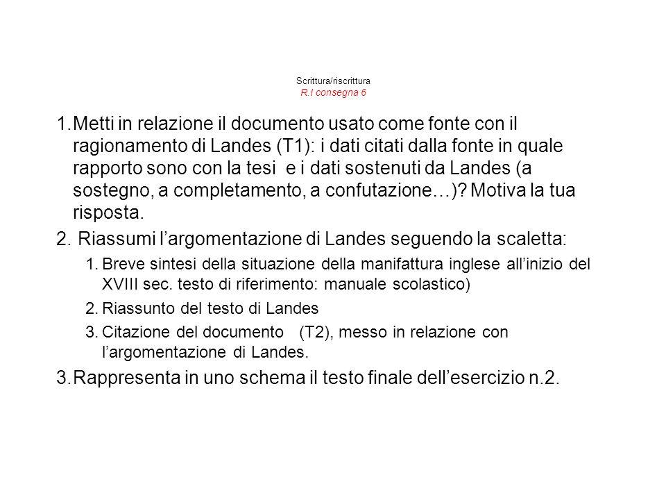 Scrittura/riscrittura R.I consegna 6 1.Metti in relazione il documento usato come fonte con il ragionamento di Landes (T1): i dati citati dalla fonte