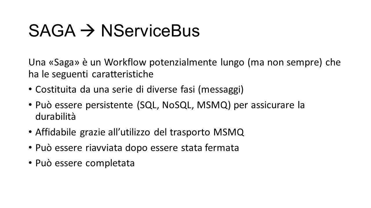 SAGA  NServiceBus Una «Saga» è un Workflow potenzialmente lungo (ma non sempre) che ha le seguenti caratteristiche Costituita da una serie di diverse