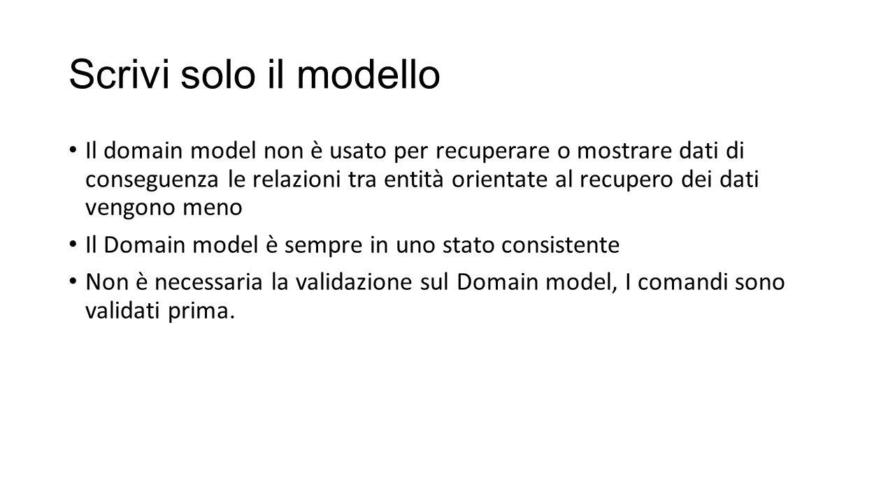 Scrivi solo il modello Il domain model non è usato per recuperare o mostrare dati di conseguenza le relazioni tra entità orientate al recupero dei dat