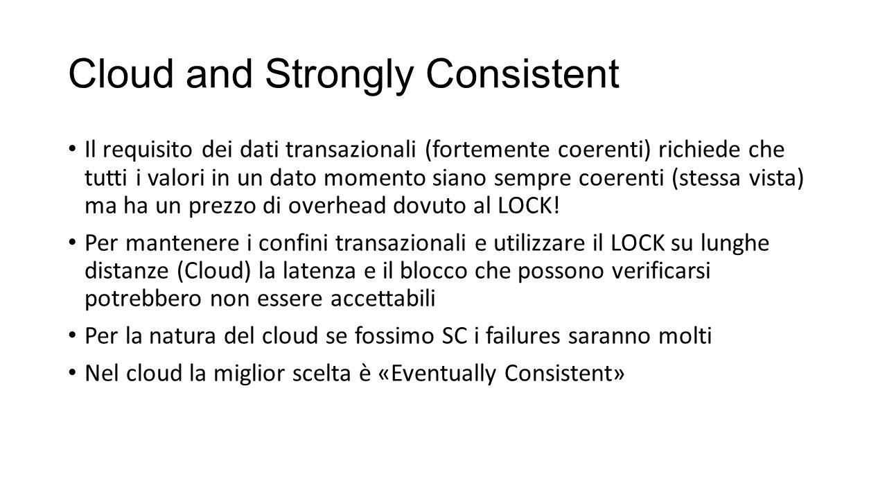 Cloud and Strongly Consistent Il requisito dei dati transazionali (fortemente coerenti) richiede che tutti i valori in un dato momento siano sempre co