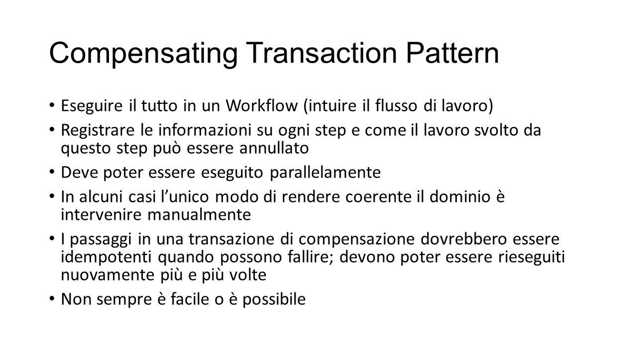 Compensating Transaction Pattern Eseguire il tutto in un Workflow (intuire il flusso di lavoro) Registrare le informazioni su ogni step e come il lavo