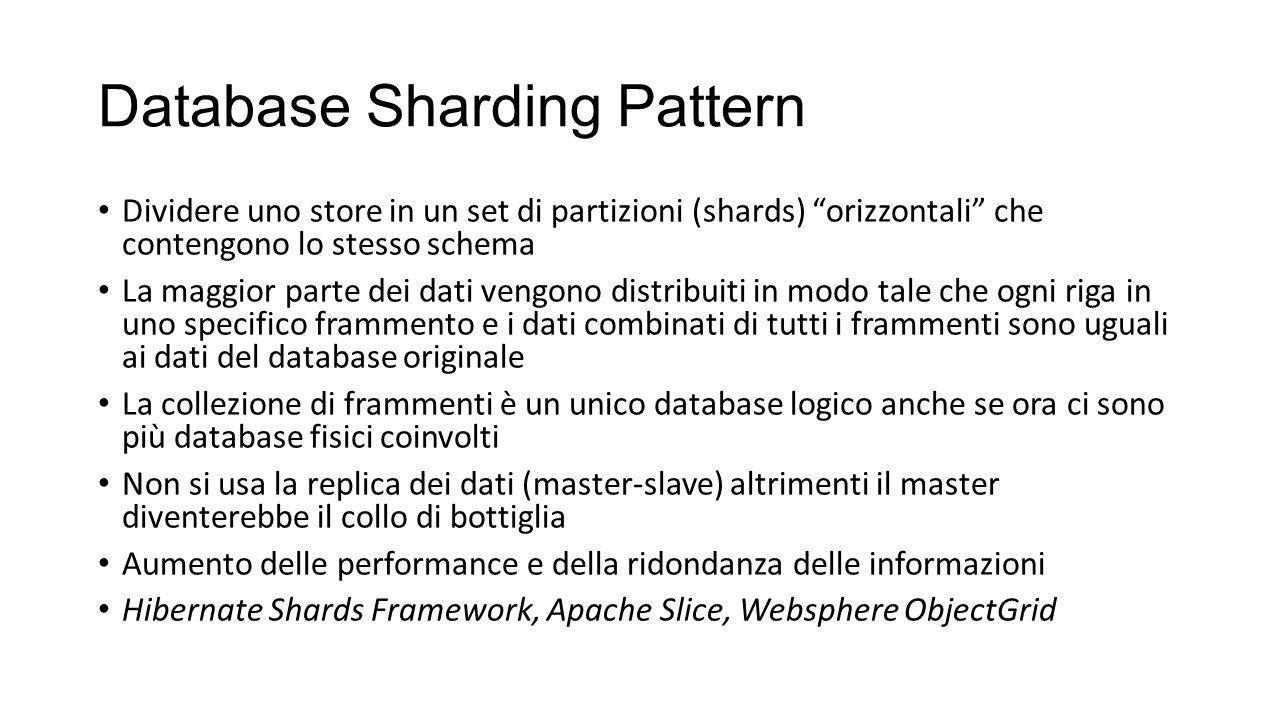 """Database Sharding Pattern Dividere uno store in un set di partizioni (shards) """"orizzontali"""" che contengono lo stesso schema La maggior parte dei dati"""