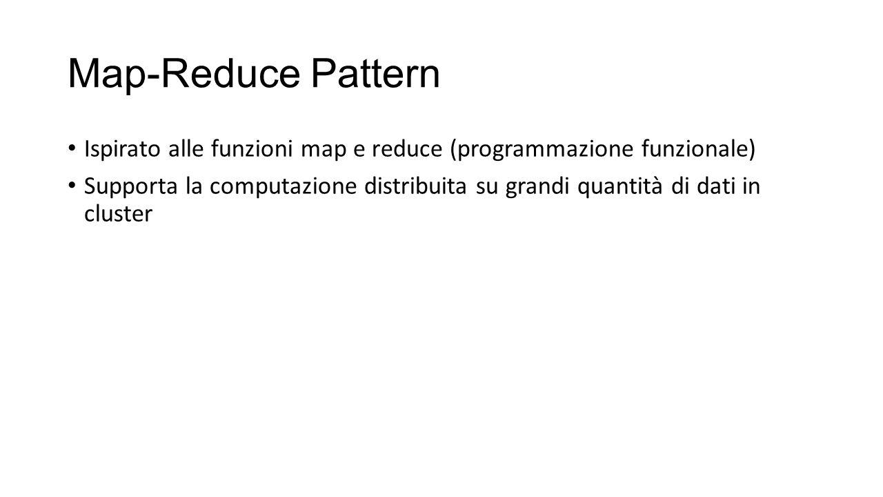 Map-Reduce Pattern Ispirato alle funzioni map e reduce (programmazione funzionale) Supporta la computazione distribuita su grandi quantità di dati in