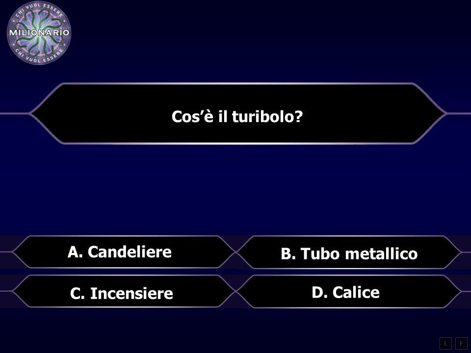 Cos'è il turibolo? A. Candeliere B. Tubo metallico LF D. Calice C. Incensiere