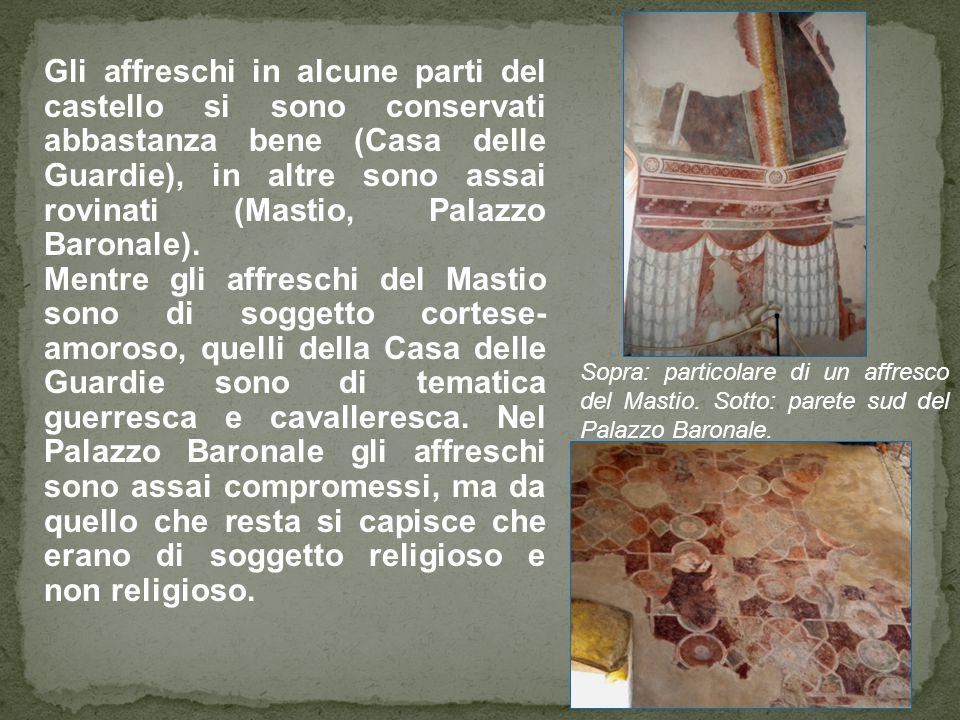 Gli affreschi in alcune parti del castello si sono conservati abbastanza bene (Casa delle Guardie), in altre sono assai rovinati (Mastio, Palazzo Baro