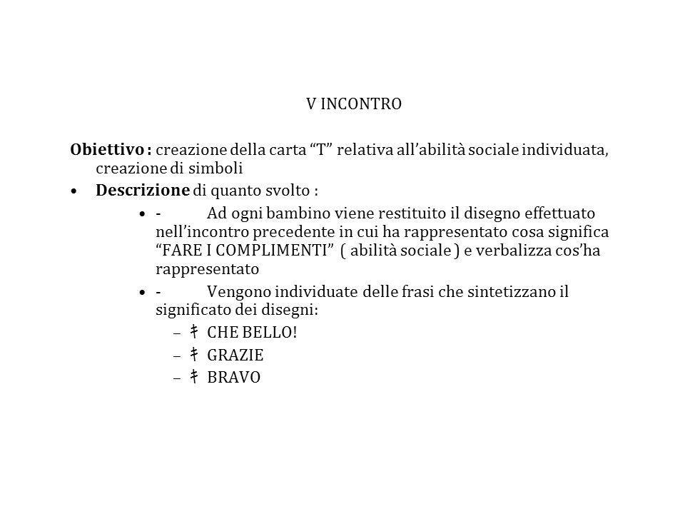 """V INCONTRO Obiettivo : creazione della carta """"T"""" relativa all'abilità sociale individuata, creazione di simboli Descrizione di quanto svolto : -Ad ogn"""