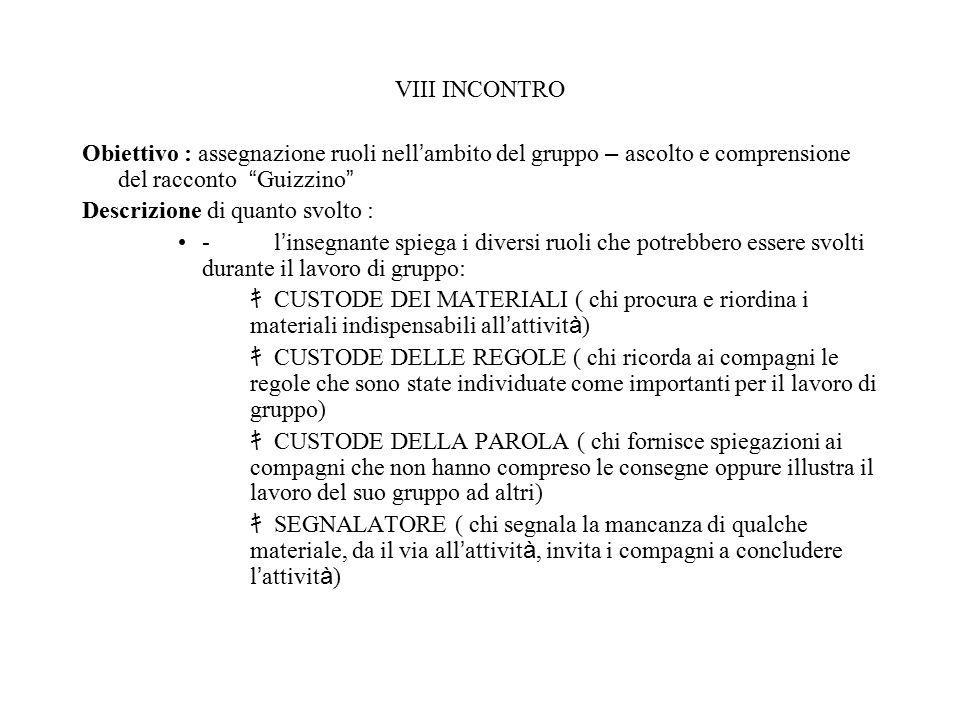 """VIII INCONTRO Obiettivo : assegnazione ruoli nell ' ambito del gruppo – ascolto e comprensione del racconto """" Guizzino """" Descrizione di quanto svolto"""