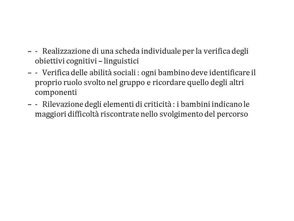 –-Realizzazione di una scheda individuale per la verifica degli obiettivi cognitivi – linguistici –-Verifica delle abilità sociali : ogni bambino deve