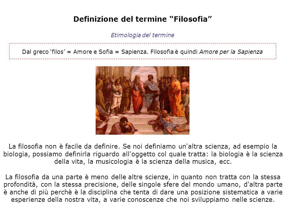 """Definizione del termine """"Filosofia"""" Dal greco 'filos' = Amore e Sofia = Sapienza. Filosofia è quindi Amore per la Sapienza Etimologia del termine La f"""