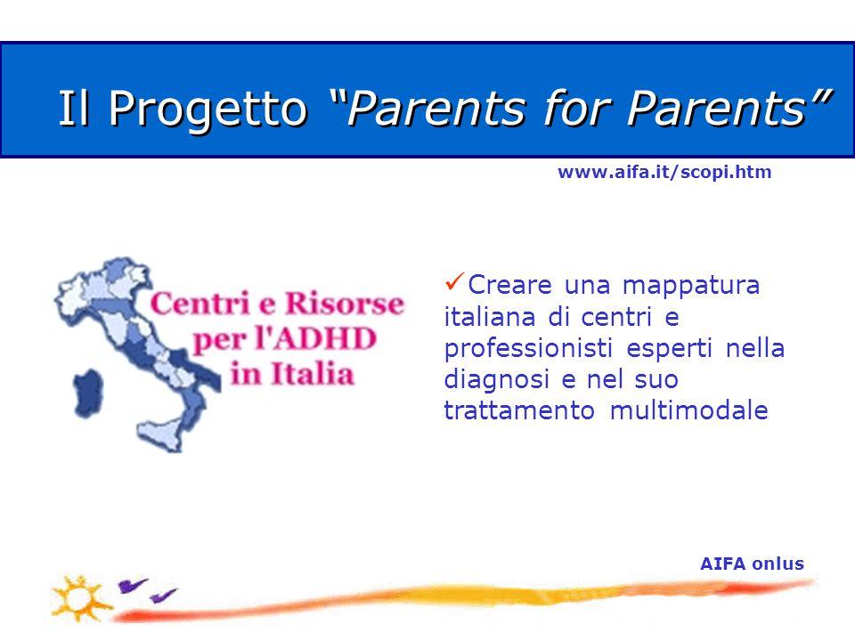 AIFA onlus Il Progetto Parents for Parents Creare una mappatura italiana di centri e professionisti esperti nella diagnosi e nel suo trattamento multimodale www.aifa.it/scopi.htm