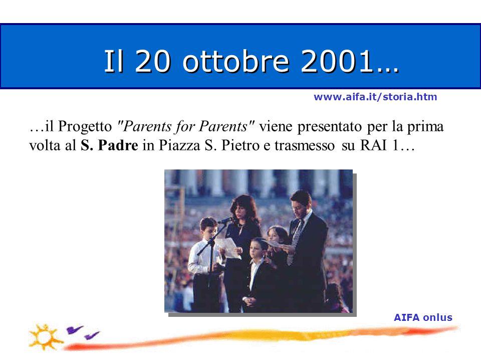 Il 20 ottobre 2001… …il Progetto Parents for Parents viene presentato per la prima volta al S.