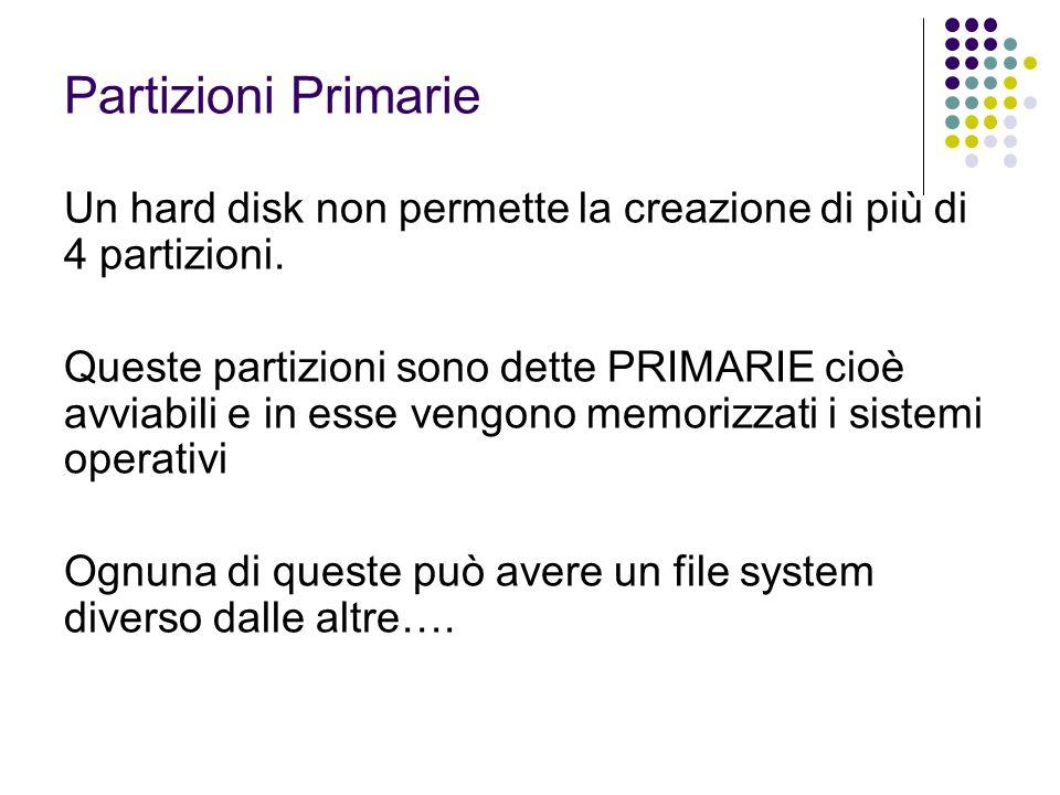 Partizioni Primarie Un hard disk non permette la creazione di più di 4 partizioni. Queste partizioni sono dette PRIMARIE cioè avviabili e in esse veng