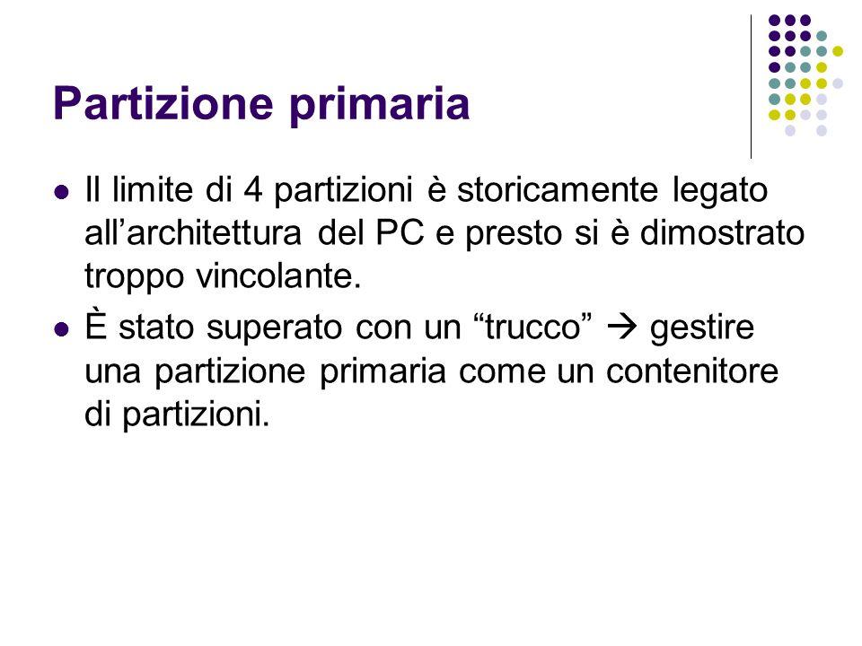 Partizione primaria Il limite di 4 partizioni è storicamente legato all'architettura del PC e presto si è dimostrato troppo vincolante. È stato supera