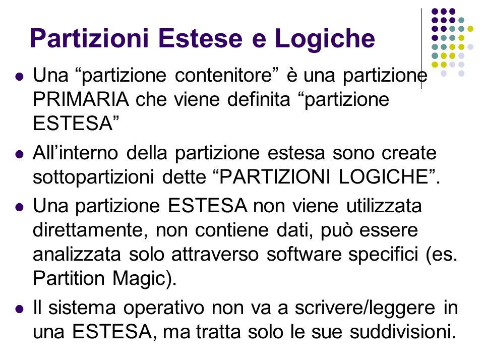 """Partizioni Estese e Logiche Una """"partizione contenitore"""" è una partizione PRIMARIA che viene definita """"partizione ESTESA"""" All'interno della partizione"""