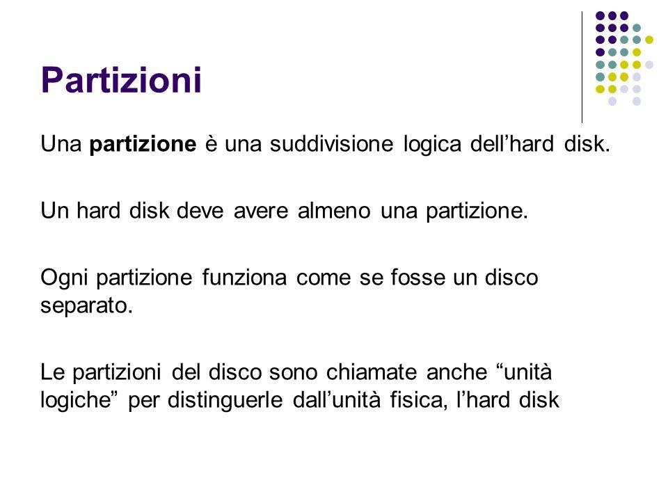 Partizioni Una partizione è una suddivisione logica dell'hard disk. Un hard disk deve avere almeno una partizione. Ogni partizione funziona come se fo