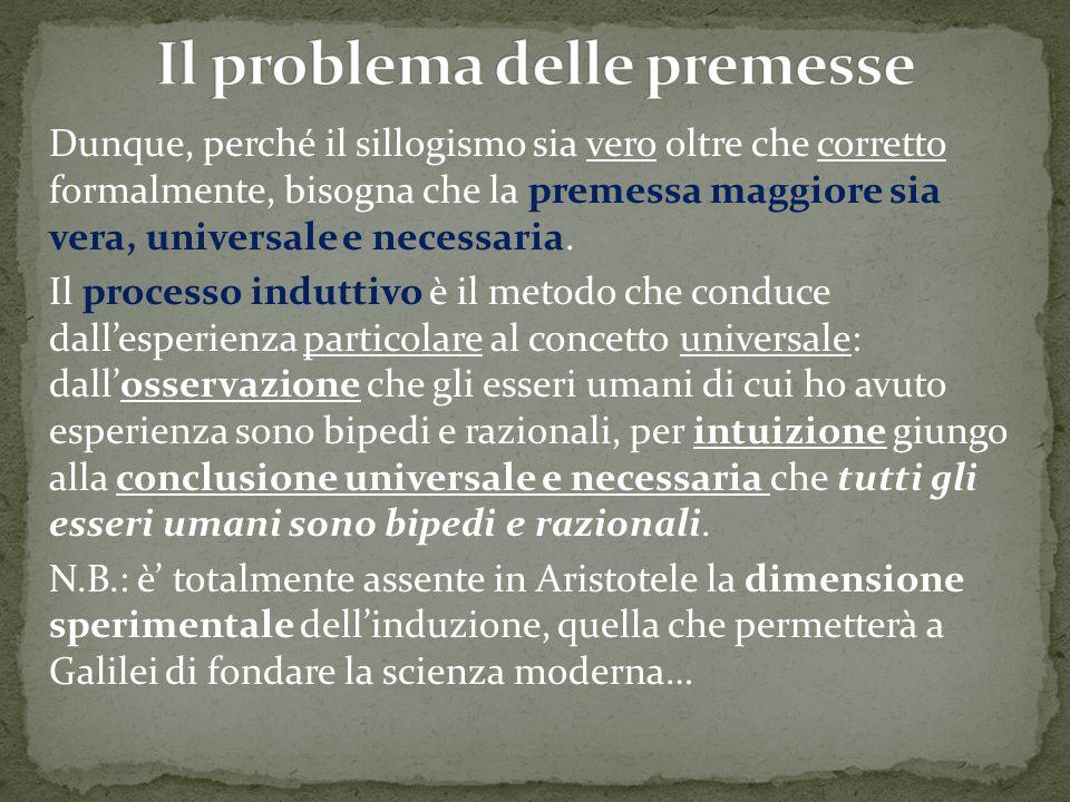 Dunque, perché il sillogismo sia vero oltre che corretto formalmente, bisogna che la premessa maggiore sia vera, universale e necessaria. Il processo