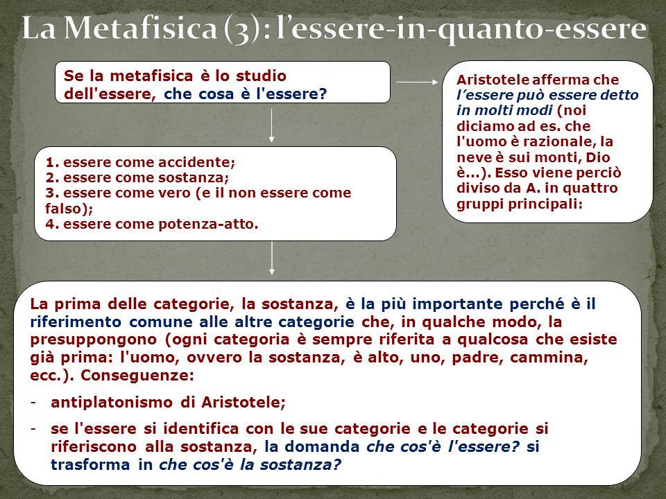 Se la metafisica è lo studio dell'essere, che cosa è l'essere? 1. essere come accidente; 2. essere come sostanza; 3. essere come vero (e il non essere