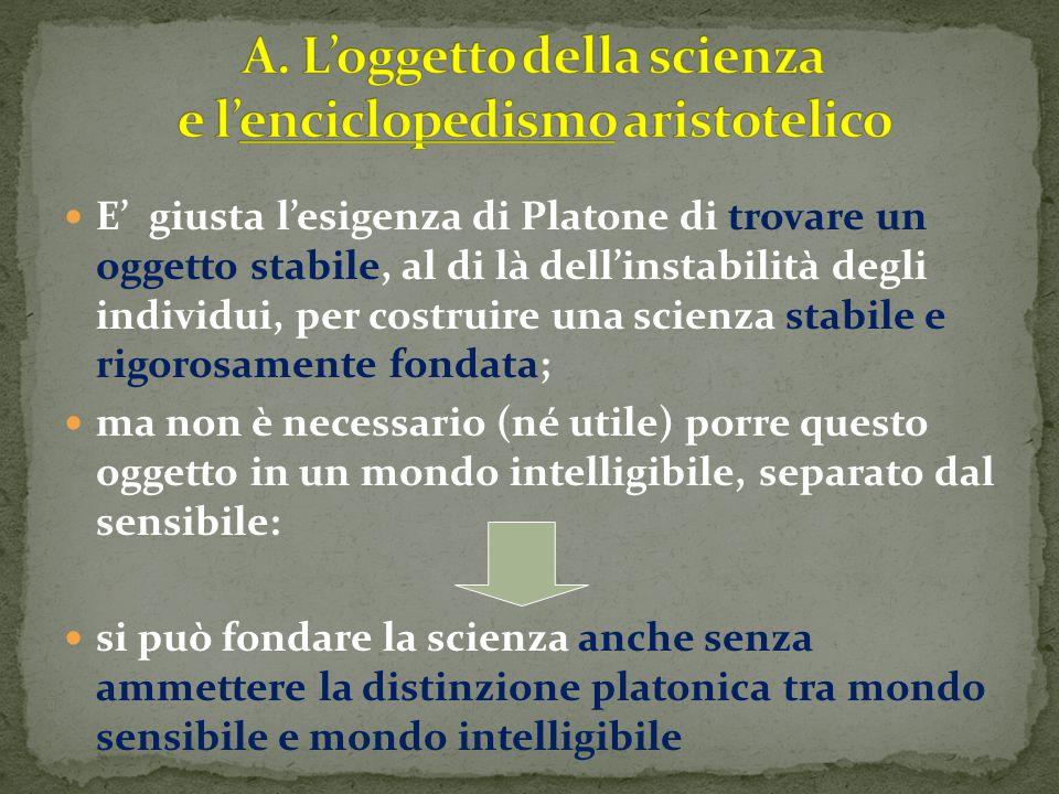 E' giusta l'esigenza di Platone di trovare un oggetto stabile, al di là dell'instabilità degli individui, per costruire una scienza stabile e rigorosa