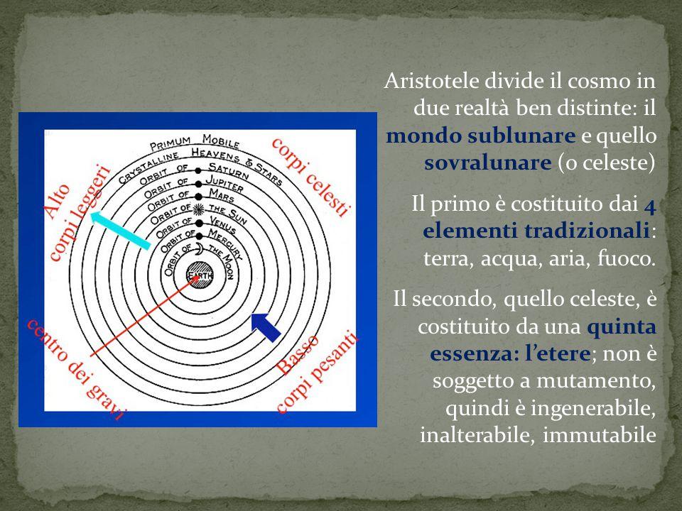 Aristotele divide il cosmo in due realtà ben distinte: il mondo sublunare e quello sovralunare (o celeste) Il primo è costituito dai 4 elementi tradiz