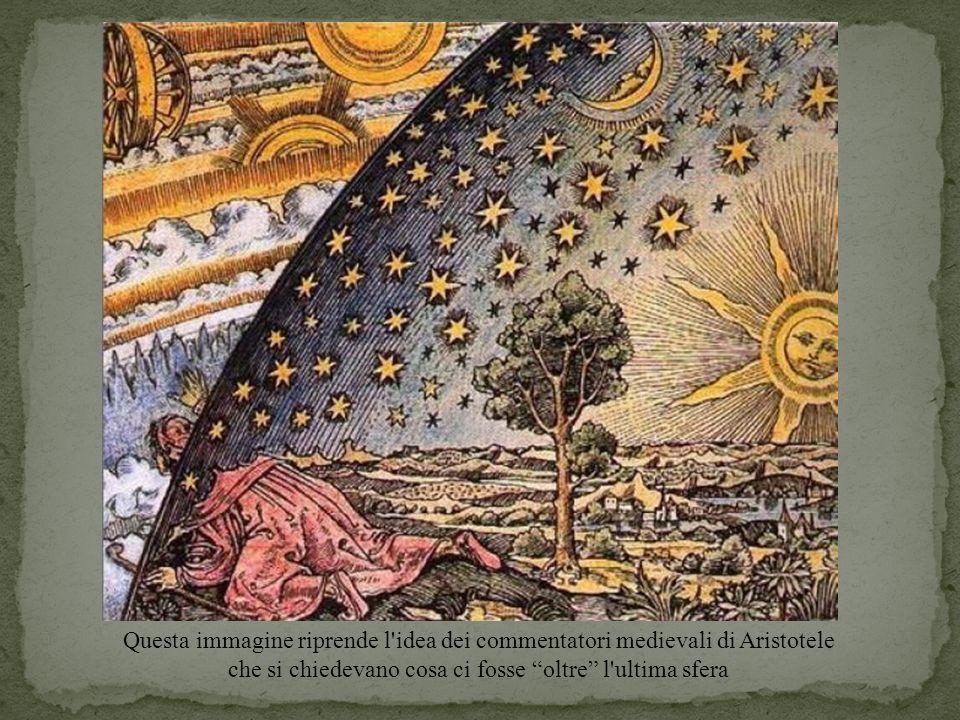 """Questa immagine riprende l'idea dei commentatori medievali di Aristotele che si chiedevano cosa ci fosse """"oltre"""" l'ultima sfera"""