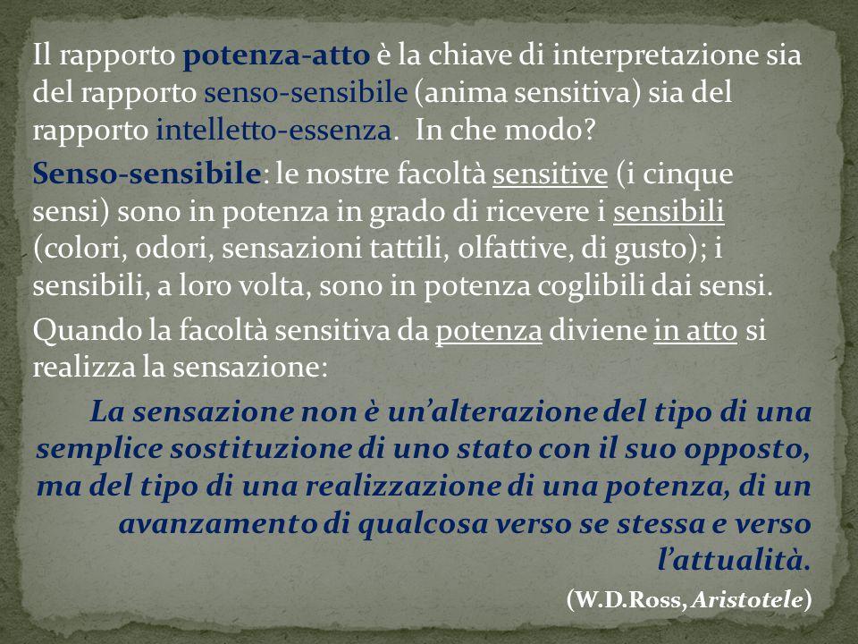 Il rapporto potenza-atto è la chiave di interpretazione sia del rapporto senso-sensibile (anima sensitiva) sia del rapporto intelletto-essenza. In che