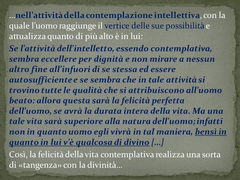 …nell'attività della contemplazione intellettiva, con la quale l'uomo raggiunge il vertice delle sue possibilità e attualizza quanto di più alto è in